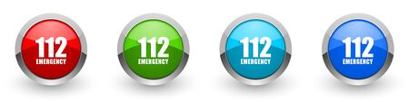 Number emergency 112 silver metallic glossy icons, set of modern design buttons for web, internet and mobile applications in four colors options isolated on white background