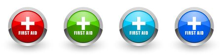 First aid silver metallic glossy icons, set of modern design buttons for web, internet and mobile applications in four colors options isolated on white background
