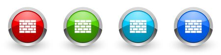Firewall silver metallic glossy icons, set of modern design buttons for web, internet and mobile applications in four colors options isolated on white background