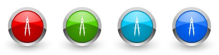 Education silver metallic glossy icons, set of modern design buttons for web, internet and mobile applications in four colors options isolated on white background