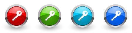 Key silver metallic glossy icons, set of modern design buttons for web, internet and mobile applications in four colors options isolated on white background
