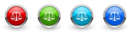 Justice silver metallic glossy icons, set of modern design buttons for web, internet and mobile applications in four colors options isolated on white background
