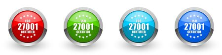 Iso 27001 silver metallic glossy icons, set of modern design buttons for web, internet and mobile applications in four colors options isolated on white background