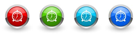 Alarm silver metallic glossy icons, set of modern design buttons for web, internet and mobile applications in four colors options isolated on white background Фото со стока