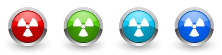Radiation silver metallic glossy icons, set of modern design buttons for web, internet and mobile applications in four colors options isolated on white background