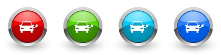 Electric car, power silver metallic glossy icons, set of modern design buttons for web, internet and mobile applications in four colors options isolated on white background