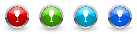 Alcohol silver metallic glossy icons, set of modern design buttons for web, internet and mobile applications in four colors options isolated on white background Zdjęcie Seryjne - 130755489