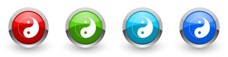 Ying yang silver metallic glossy icons, set of modern design buttons for web, internet and mobile applications in four colors options isolated on white background Stockfoto - 130755495