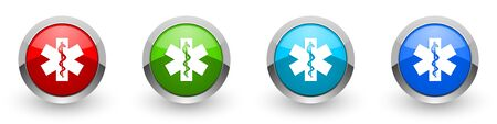 Emergency silver metallic glossy icons, set of modern design buttons for web, internet and mobile applications in four colors options isolated on white background