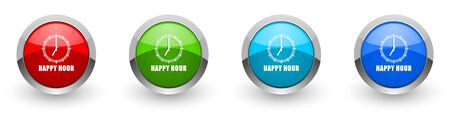 Happy hour silver metallic glossy icons, set of modern design buttons for web, internet and mobile applications in four colors options isolated on white background Zdjęcie Seryjne