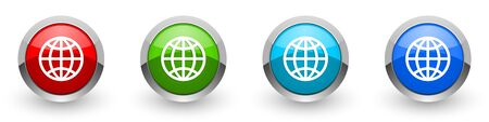 Globe silver metallic glossy icons, set of modern design buttons for web, internet and mobile applications in four colors options isolated on white background Banco de Imagens