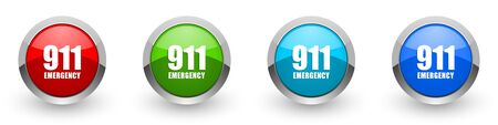 Number emergency 911 silver metallic glossy icons, set of modern design buttons for web, internet and mobile applications in four colors options isolated on white background