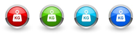 Weight, kg, kilogram silver metallic glossy icons, set of modern design buttons for web, internet and mobile applications in four colors options isolated on white background