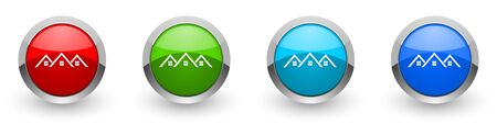 Home, house silver metallic glossy icons, set of modern design buttons for web, internet and mobile applications in four colors options isolated on white background
