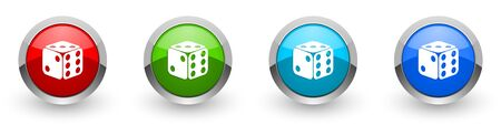 Dice, game, casino silver metallic glossy icons, set of modern design buttons for web, internet and mobile applications in four colors options isolated on white background