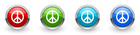 Peace silver metallic glossy icons, set of modern design buttons for web, internet and mobile applications in four colors options isolated on white background Stok Fotoğraf