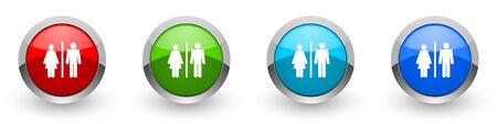 Man and Woman silver metallic glossy icons, set of modern design buttons for web, internet and mobile applications in four colors options isolated on white background