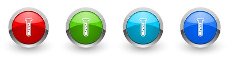 Science, laboratory, chemistry silver metallic glossy icons, set of modern design buttons for web, internet and mobile applications in four colors options isolated on white background