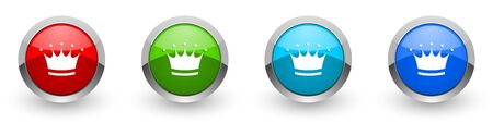 Crown silver metallic glossy icons, set of modern design buttons for web, internet and mobile applications in four colors options isolated on white background Stok Fotoğraf