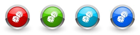 Dice, casino silver metallic glossy icons, set of modern design buttons for web, internet and mobile applications in four colors options isolated on white background 스톡 콘텐츠