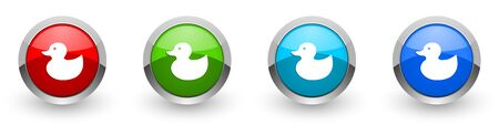 Duck toy, bird silver metallic glossy icons, set of modern design buttons for web, internet and mobile applications in four colors options isolated on white background Stock Photo