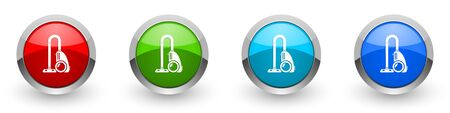 Vacuum cleaner silver metallic glossy icons, set of modern design buttons for web, internet and mobile applications in four colors options isolated on white background