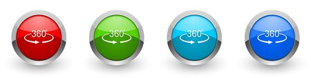 Panorama 360 silver metallic glossy icons, set of modern design buttons for web, internet and mobile applications in four colors options isolated on white background