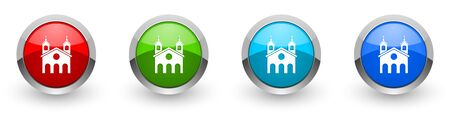 Religion, church silver metallic glossy icons, set of modern design buttons for web, internet and mobile applications in four colors options isolated on white background