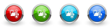 Weather forecast silver metallic glossy icons, set of modern design buttons for web, internet and mobile applications in four colors options isolated on white background