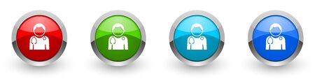 Doctor silver metallic glossy icons, set of modern design buttons for web, internet and mobile applications in four colors options isolated on white background Stock Photo