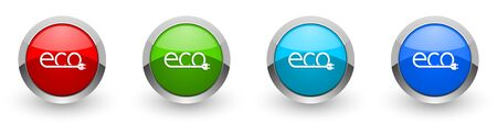 Ecology plug silver metallic glossy icons, set of modern design buttons for web, internet and mobile applications in four colors options isolated on white background