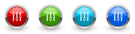 Slider silver metallic glossy icons, set of modern design buttons for web, internet and mobile applications in four colors options isolated on white background Stockfoto