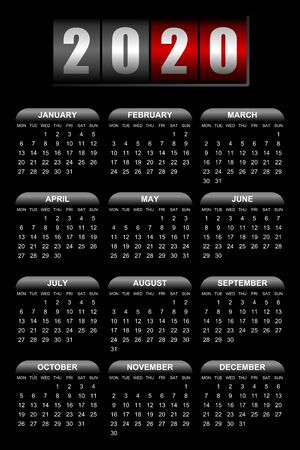 Simple editable vector calendar for year 2020 with counter, mondays first