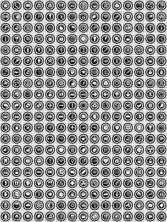 Set of 300  flat design round vector icons, business, technology, medicine and education web buttons in eps 10  for web design and mobile apps Ilustração