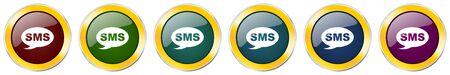 Sms glossy icon set on white