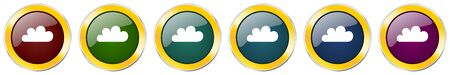 Cloud glossy icon set on white Ilustração
