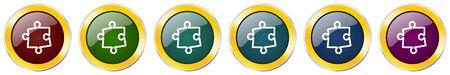 Puzzle glossy icon set on white