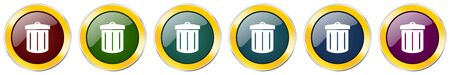 Recycle glossy icon set on white