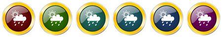 Rain glossy icon set on white