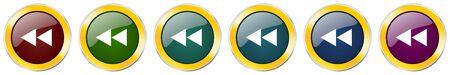 Rewind glossy icon set on white