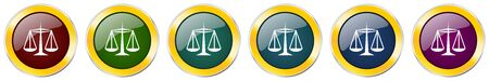 Justice glossy icon set on white