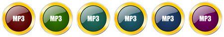Mp3 glossy icon set on white