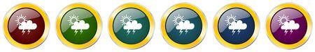 Storm symbol icon set on white Ilustração