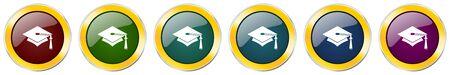 Education symbol icon set on white Ilustração