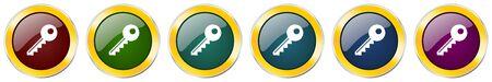 Key symbol icon set on white