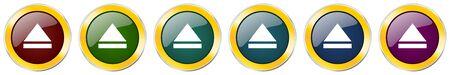 Eject symbol icon set on white