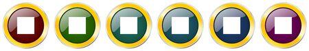 Stop symbol icon set on white