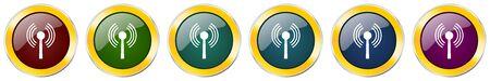 Wifi symbol icon set on white