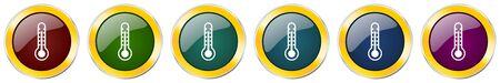 Thermometer symbol icon set on white