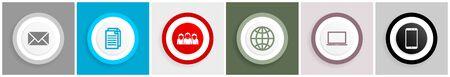 Internet and technology symbol icon set on white Illustration